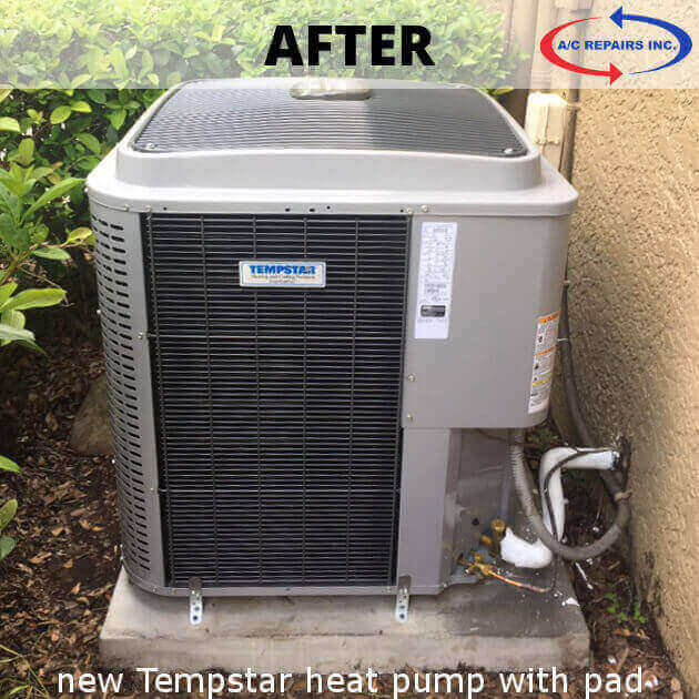new Tempstar heat pump after replacement