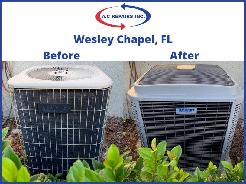 Wesley Chapel, Fl before and after air conditioning system replacement